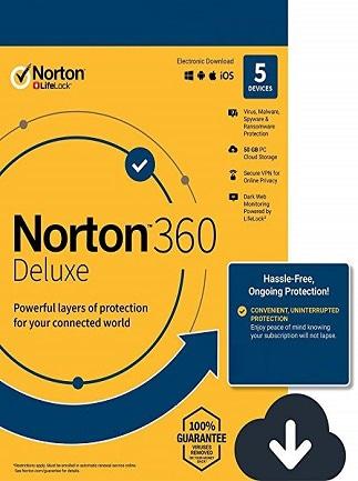 Norton 360 Deluxe - (5 Devices, 1 Year) - Symantec Key EUROPE - 1
