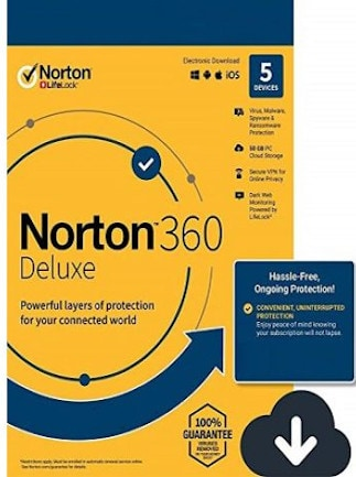 Norton 360 Deluxe + 50 GB Cloud Storage (5 Devices, 1 Year) - Symantec Key - UNITED STATES / CANADA - 1