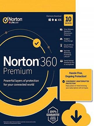Norton 360 Premium + 75 GB Cloud Storage - (10 Devices, 1 Year) - Symantec Key EUROPE - 1