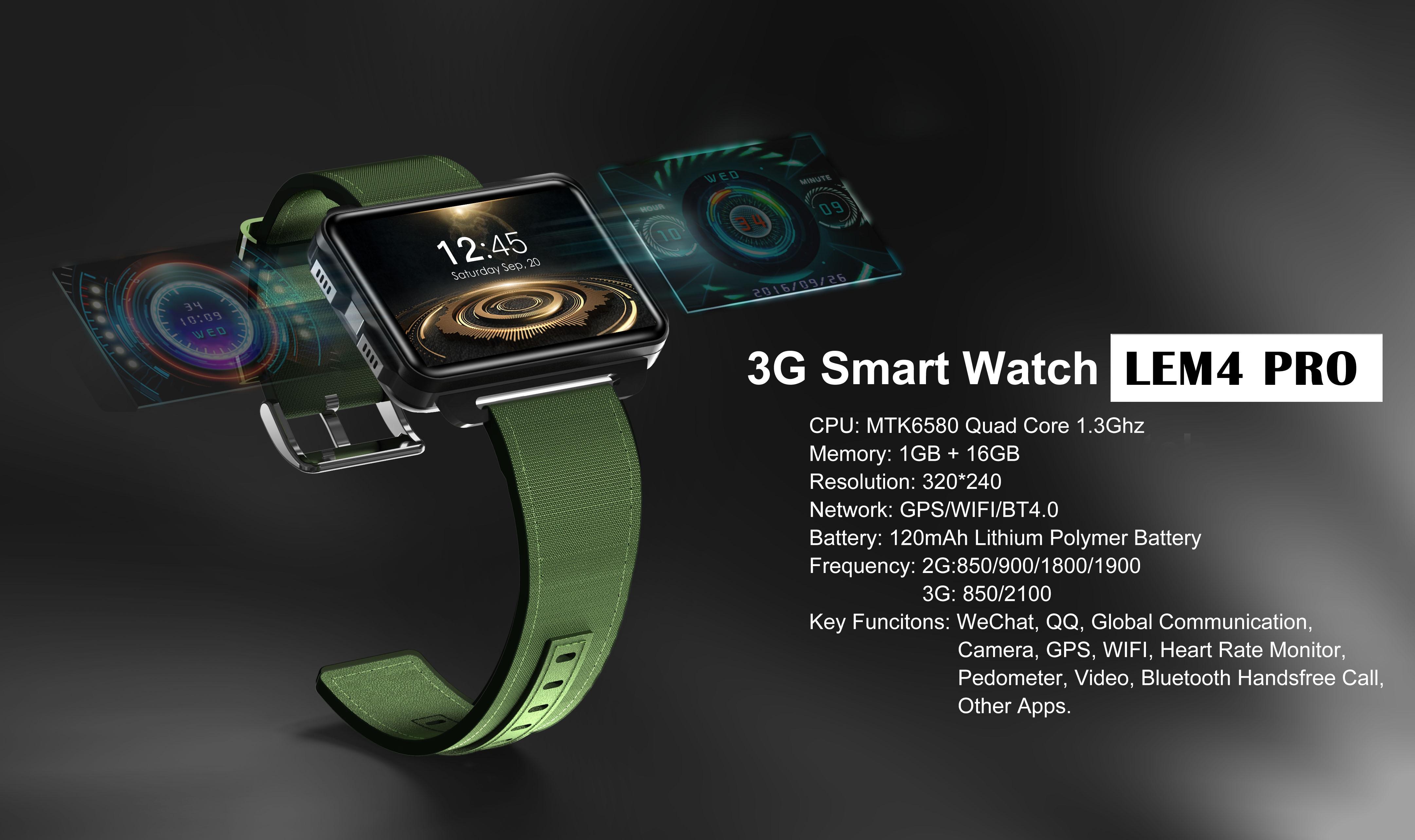 LEMFO LEM4 Pro 2.2 Inch Display 3G Smart Watch Android 5.1 1200mAh Lithium Battery 1GB + 16GB Wifi Take Video Orange - 5