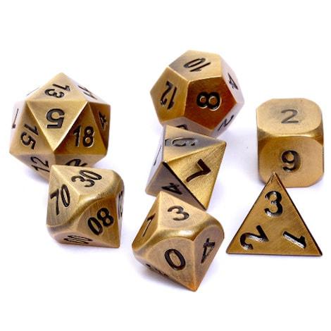 Komplet kości RPG - Metal - Mosiądz - 1