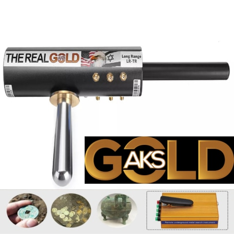Original The Real Gold AKS Handhold Pro Metal/Gold Detector 6000M Range 6 Antenna Diamond Finder w/Case - Black - 4