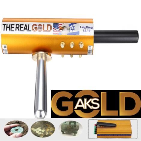 Original The Real Gold AKS Handhold Pro Metal/Gold Detector 6000M Range 6 Antenna Diamond Finder w/Case - Black - 3