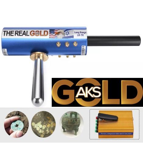 Original The Real Gold AKS Handhold Pro Metal/Gold Detector 6000M Range 6 Antenna Diamond Finder w/Case - Black - 5