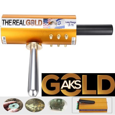 Original The Real Gold AKS Handhold Pro Metal/Gold Detector 6000M Range 6 Antenna Diamond Finder w/Case - Gold - 3
