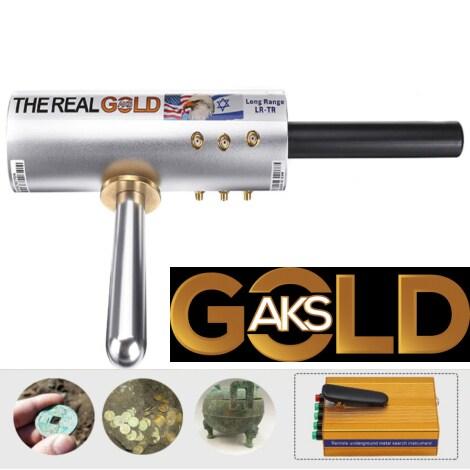 Original The Real Gold AKS Handhold Pro Metal/Gold Detector 6000M Range 6 Antenna Diamond Finder w/Case - Gold - 6