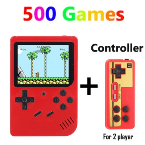 Retro Handheld Game Player Console, With 500 Preinstalled Vintage Games, Red Colour And Controller. - 1