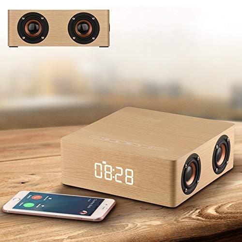 Wolfsay Wooden Bluetooth Alarm Clock Speaker 3600mAh Battery Support Audio Input TF Card/U-disk Play - 1