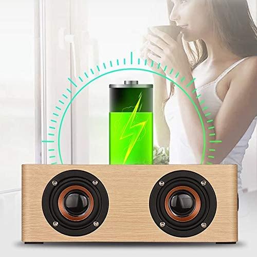 Wolfsay Wooden Bluetooth Alarm Clock Speaker 3600mAh Battery Support Audio Input TF Card/U-disk Play - 8