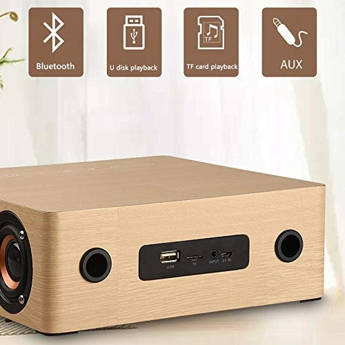 Wolfsay Wooden Bluetooth Alarm Clock Speaker 3600mAh Battery Support Audio Input TF Card/U-disk Play - 5