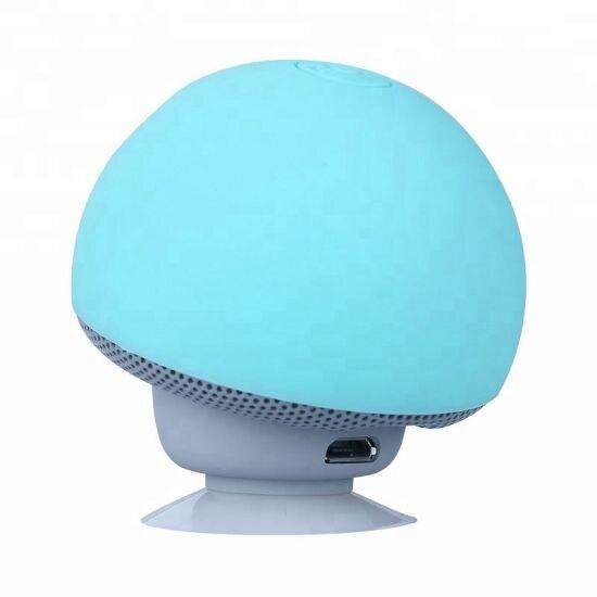 Mini Portable Cute Mushroom Head Bluetooth Speaker Wireless Stereo Speaker with Suction Cup Blue - 8
