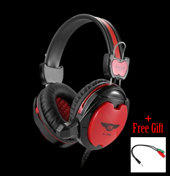 Gaming Wired Headset Microphone + Free Adapter Cable White - 1