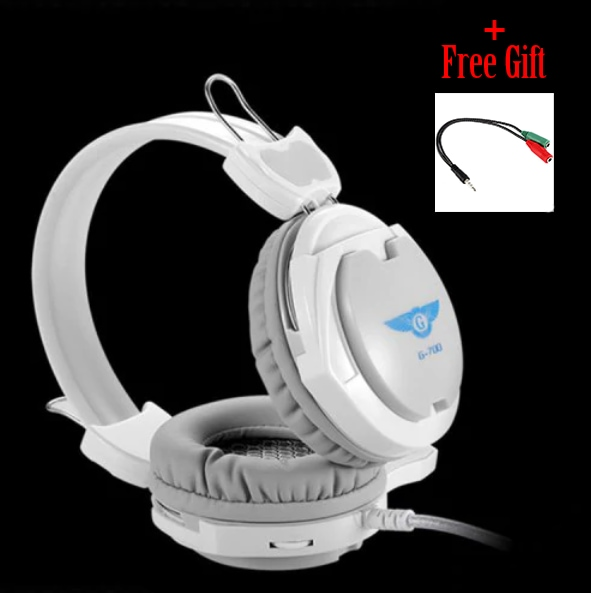 Gaming Wired Headset Microphone + Free Adapter Cable White - 2