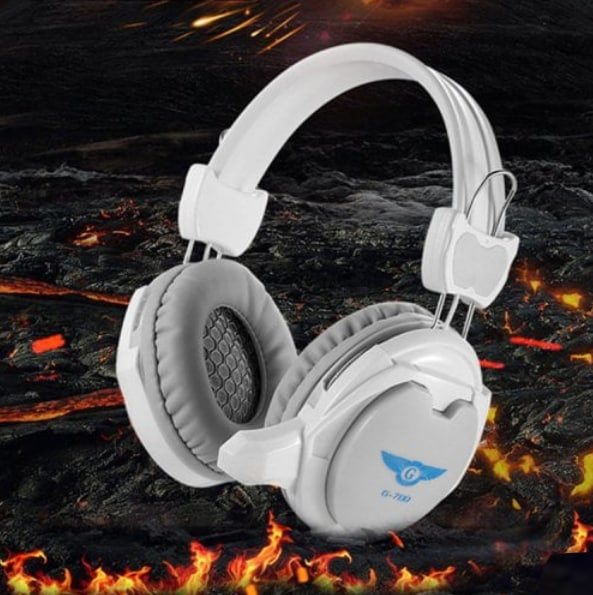 Gaming Wired Headset Microphone + Free Adapter Cable White - 4