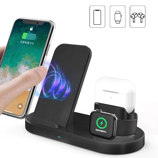 3 in 1 Fast Wireless Charger Black - 2