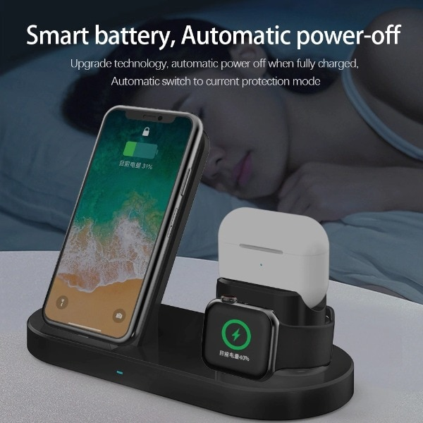 3 in 1 Fast Wireless Charger Black - 1