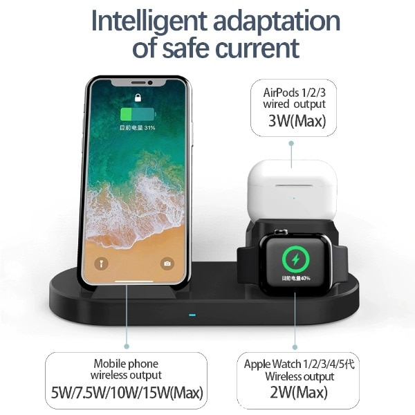 3 in 1 Fast Wireless Charger Black - 4
