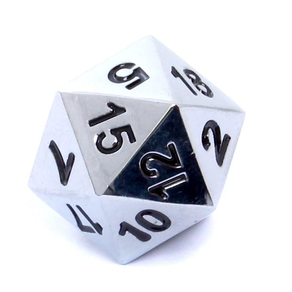 Komplet kości RPG - Metal - Polerowane srebro - 7