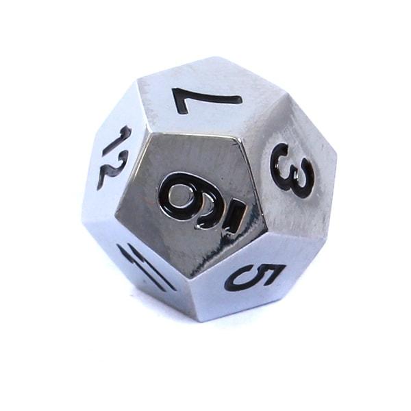 Komplet kości RPG - Metal - Polerowane srebro - 8
