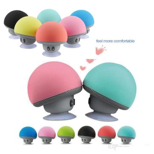 Mini Portable Cute Mushroom Head Bluetooth Speaker Wireless Stereo Speaker with Suction Cup Blue - 7
