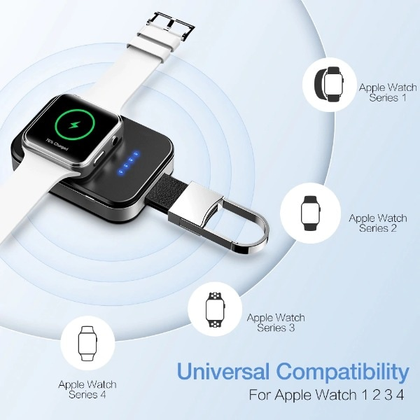 Wireless Charger Power Bank For Apple Watch Black Less than 1000 mAh - 2