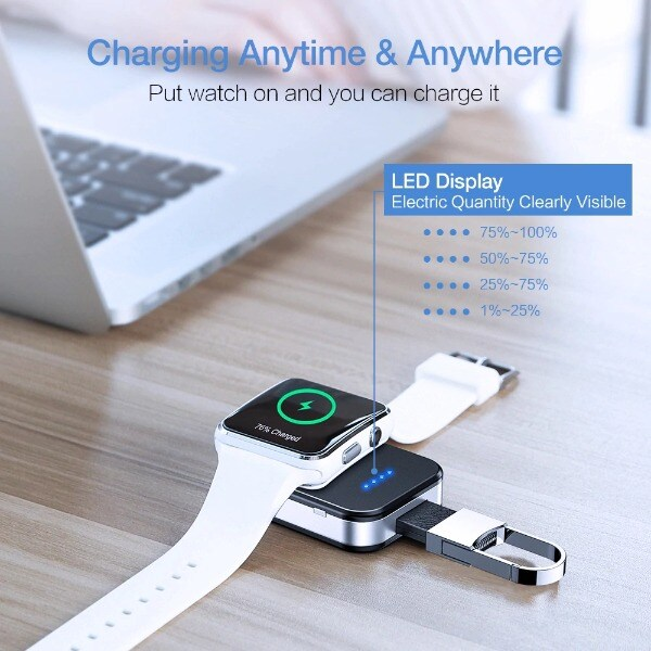 Wireless Charger Power Bank For Apple Watch Black Less than 1000 mAh - 5