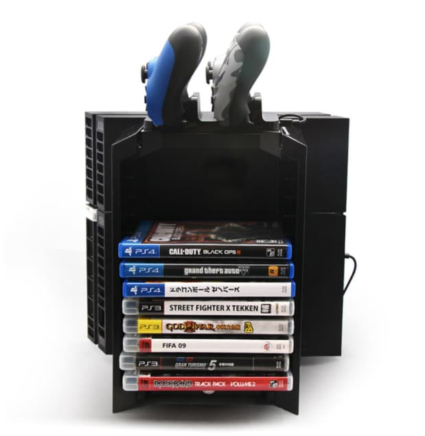 Multifunctional Gaming Movie Disks Storage Tower Dual Game Controller Stand Charging Dock Station For PS4 - 1