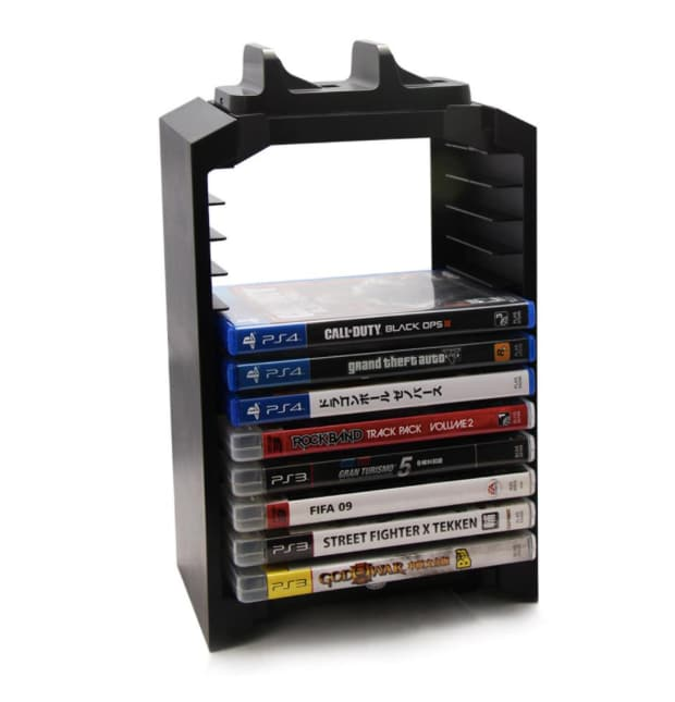Multifunctional Gaming Movie Disks Storage Tower Dual Game Controller Stand Charging Dock Station For PS4 - 4