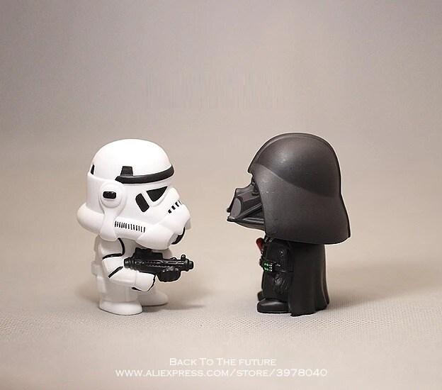 Disney Star Wars 10cm Anime Figure doll Action Force Awakens Black Series Darth Vader toys model For children gift Black - 2