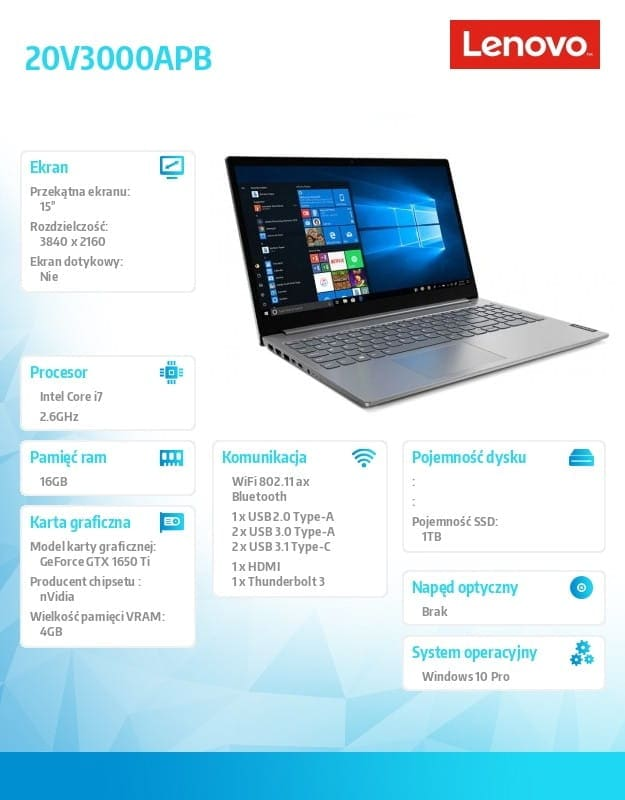"Lenovo Laptop ThinkBook 15p 20V3000APB W10Pro i7-10750H/16GB/1TB/GTX1650Ti 4GB/15.6""/UHD/Mineral Gre - 2"