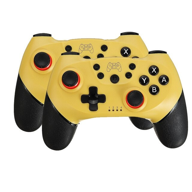 2 Pairs 2020 Bluetooth Pro Gamepad Joystick for Nintendo Switch NS-Switch Pro and NS Mini Yellow - 1