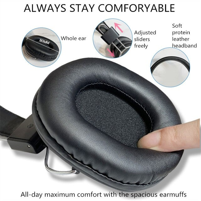 Bluetooth casque sur-oreille filaire sans fil Black - 6