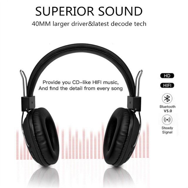 Bluetooth casque sur-oreille filaire sans fil Brown - 2