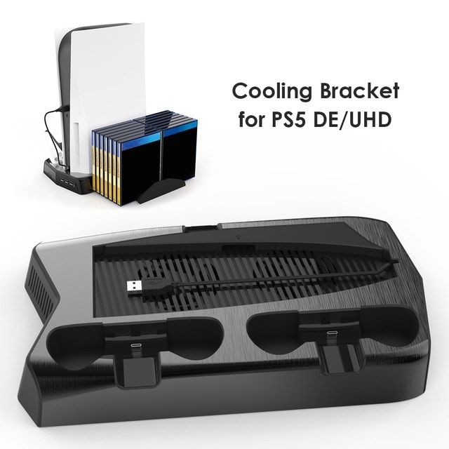 For PS5 Vertical Cooling Fan Stand Digital Edition Black - 7