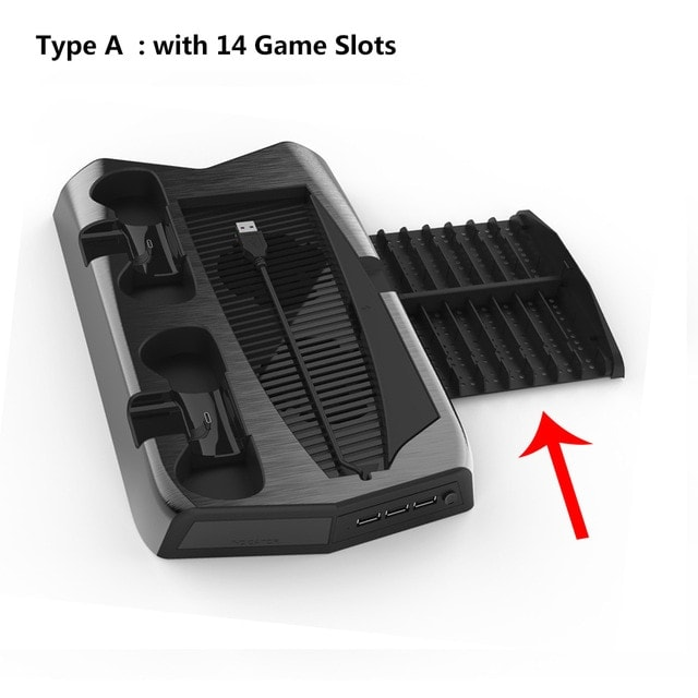 For PS5 Vertical Cooling Fan Stand Digital Edition Black - 2