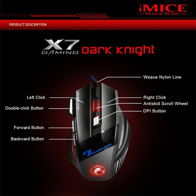 Gaming Mouse Computer Ergonomic Mouse Wired Black - 3