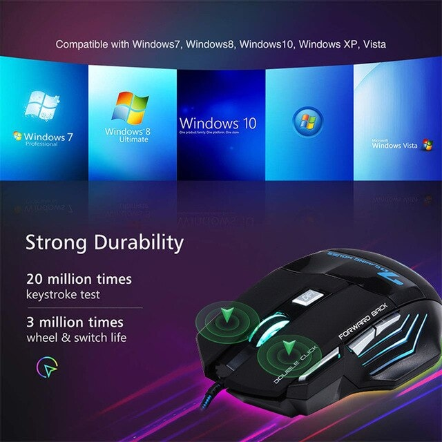 Gaming Mouse Computer Ergonomic Mouse Wired Black - 7