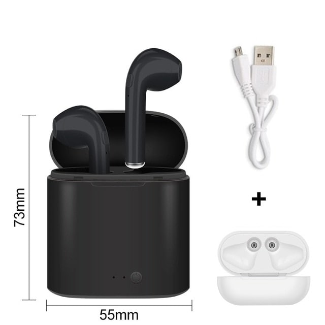 i7s Tws Bluetooth Earphones with Charging Pods for iPhone Xiaomi Huawei Samsung - Black - 1