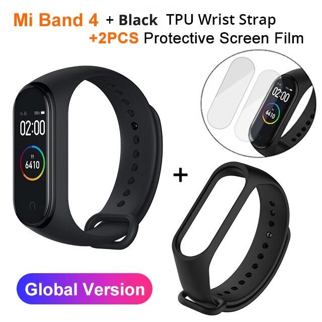 Mi Band 4 Black and TPU wrist Strap and 2PCs Pretective Screen Blue - 6