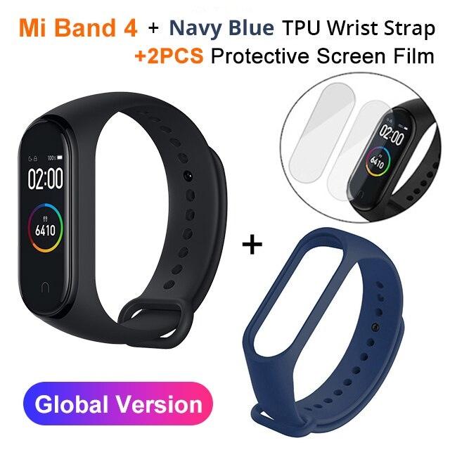 Mi Band 4 Black and TPU wrist Strap and 2PCs Pretective Screen Cyan - 8