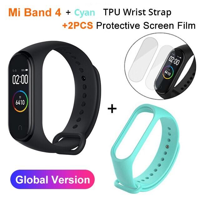 Mi Band 4 Black and TPU wrist Strap and 2PCs Pretective Screen Cyan - 10