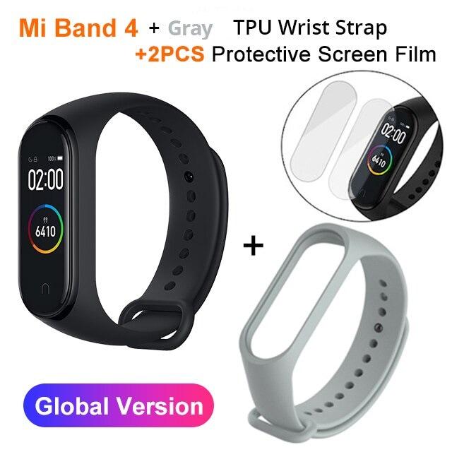 Mi Band 4 Black and TPU wrist Strap and 2PCs Pretective Screen Gray - 3