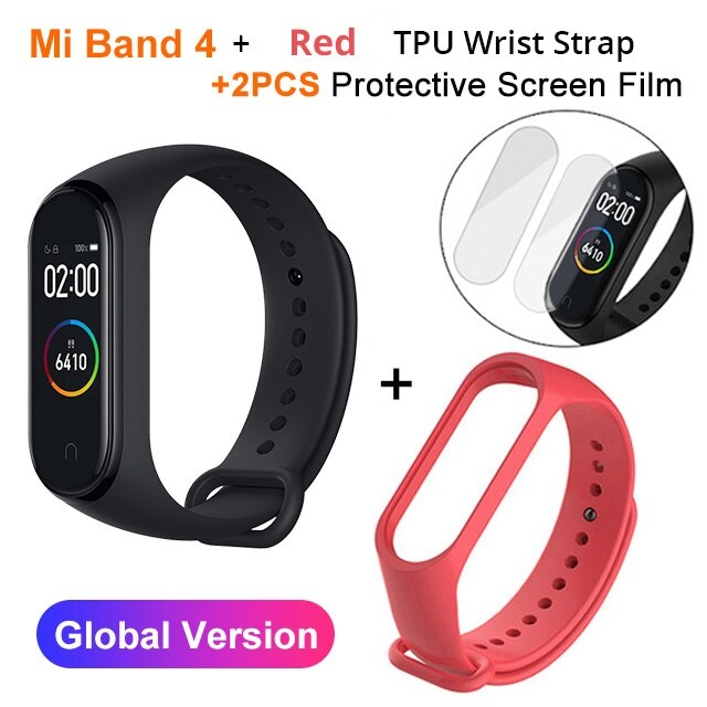 Mi Band 4 Black and TPU wrist Strap and 2PCs Pretective Screen Green - 2