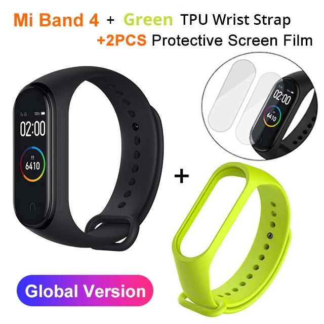 Mi Band 4 Black and TPU wrist Strap and 2PCs Pretective Screen Green - 7