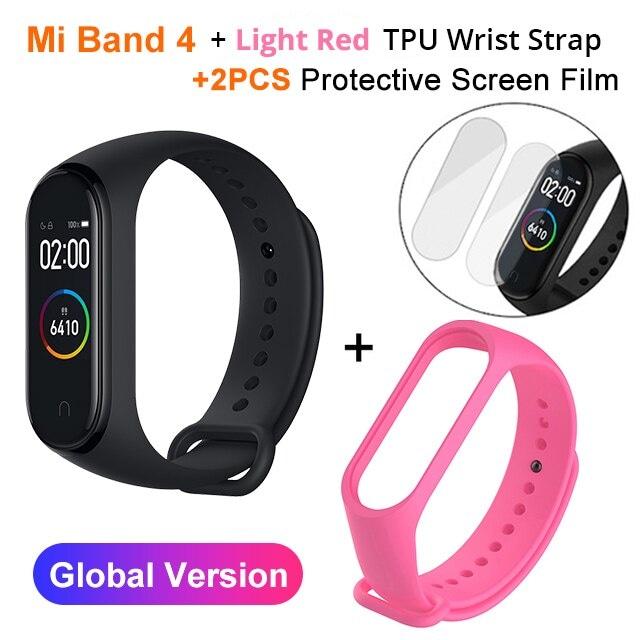 Mi Band 4 Black and TPU wrist Strap and 2PCs Pretective Screen Light Red - 9