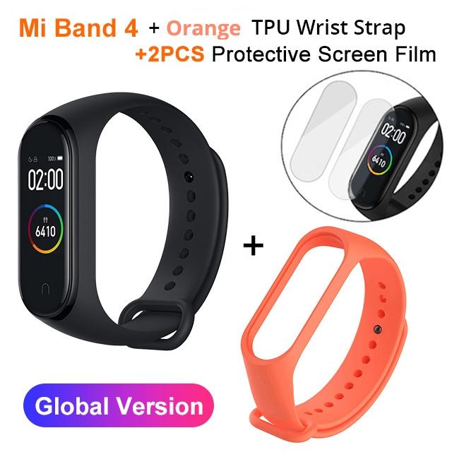 Mi Band 4 Black and TPU wrist Strap and 2PCs Pretective Screen Orange - 11