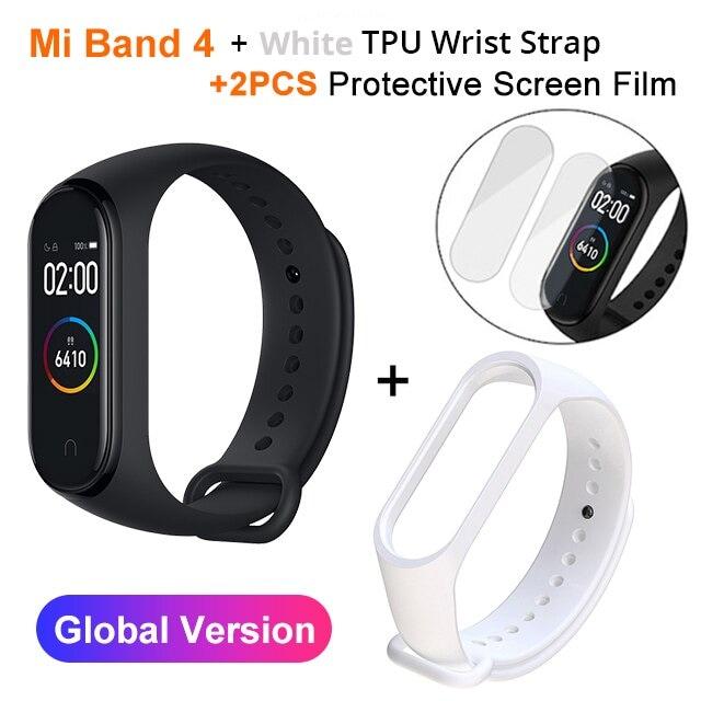 Mi Band 4 Black and TPU wrist Strap and 2PCs Pretective Screen White - 5