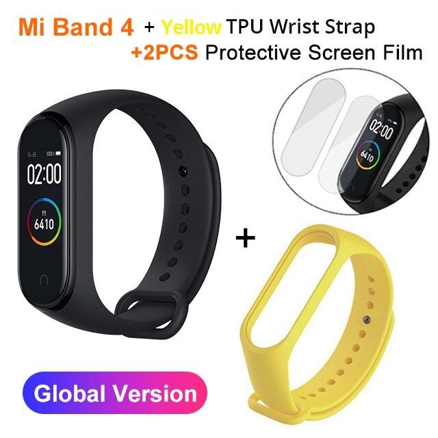 Mi Band 4 Black and TPU wrist Strap and 2PCs Pretective Screen Yellow - 4