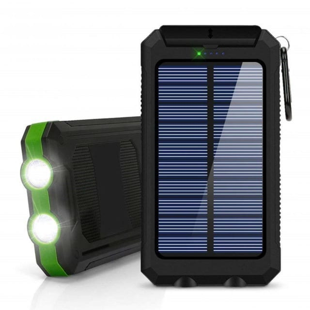 Powerbank Portable Solar External Waterproof Charger With LED Light 2USB - Green - 1
