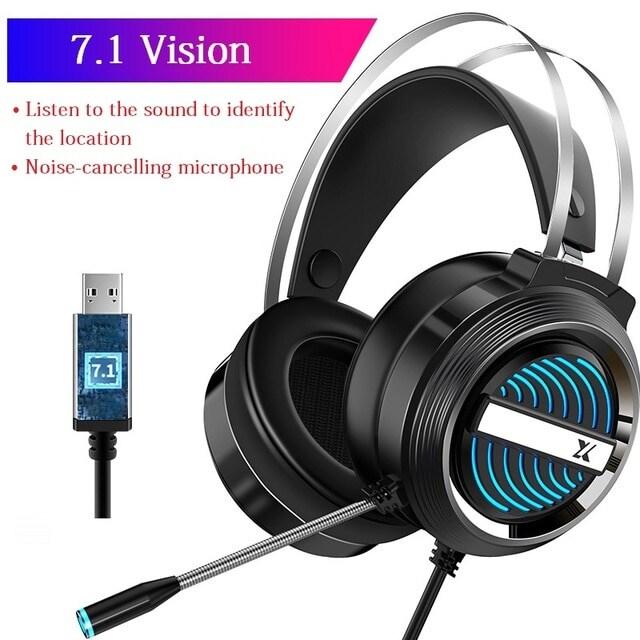 USB Wired Earphone Headset Black - 1
